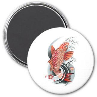 Cool Oriental Japanese Red Koi Carp Fish tattoo 7.5 Cm Round Magnet