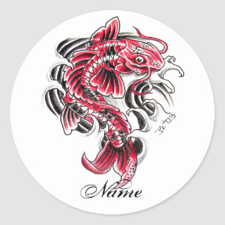 Cool Oriental Japanese Red Koi Carp Fish tattoo Classic Round Sticker