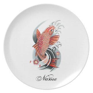 Cool Oriental Japanese Red Koi Carp Fish tattoo Dinner Plates