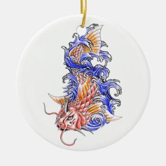 Cool Oriental Japanese Red Koi Carp Fish tattoo Round Ceramic Decoration