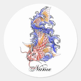 Cool Oriental Japanese Red Koi Carp Fish tattoo Round Sticker