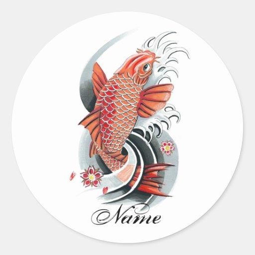 Cool oriental japanese red koi carp fish tattoo round for Japanese koi company
