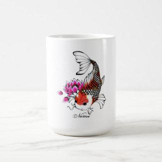 Cool Oriental Japanese Red Koi Lotus tattoo Basic White Mug