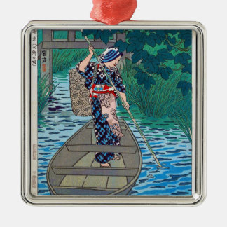 Cool oriental japanese river boat fishing woman Silver-Colored square decoration