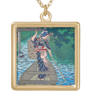 Cool oriental japanese river boat fishing woman square pendant necklace