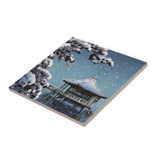 Cool oriental japanese river side winter scene art tile