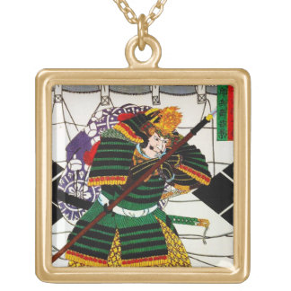Cool oriental japanese Samurai General Warrior art Square Pendant Necklace
