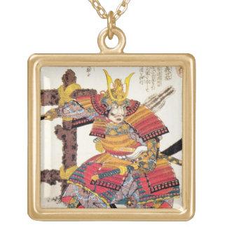 cool oriental japanese samurai warrior art square pendant necklace
