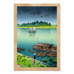 Cool oriental japanese scenery river side rain art poster