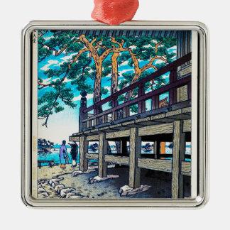 Cool oriental japanese Shiro Kasamatsu sea side Silver-Colored Square Decoration