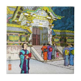 Cool oriental japanese shrine temple people hanga tile
