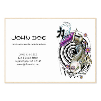 Cool oriental japanese silver ink lucky koi fish pack of chubby business cards