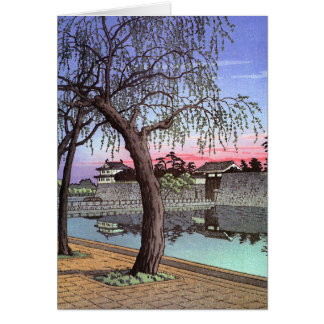 Cool oriental japanese sunset watercolour painting card