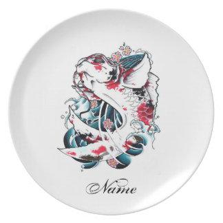 Cool Oriental Japanese White Koi Carp Fish tattoo Party Plates