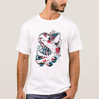Cool Oriental Japanese White Koi Carp Fish tattoo T-Shirt