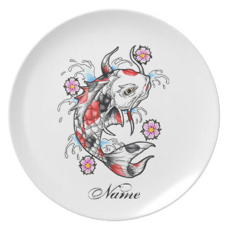 Cool Oriental Japanese White Koi Fish Carp tattoo Dinner Plates