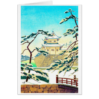 Cool oriental japanese winter castle sceneart card