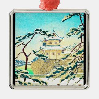 Cool oriental japanese winter castle sceneart Silver-Colored square decoration