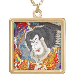 Cool oriental japanese woodprint samurai warrior square pendant necklace