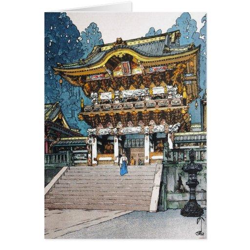 Cool oriental japanese Yomei Gate Yoshida art Greeting Cards