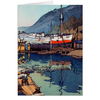 Cool oriental japanese Yoshida Kinoe Dock art Note Card