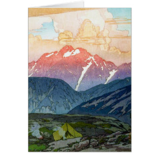 Cool oriental japanese Yoshida Mountain pass art Card