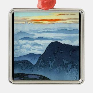 Cool oriental japanese Yoshida mountain scenery Silver-Colored Square Decoration