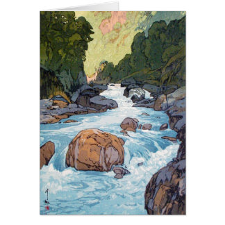 Cool oriental japanese Yoshida river scenery art Card