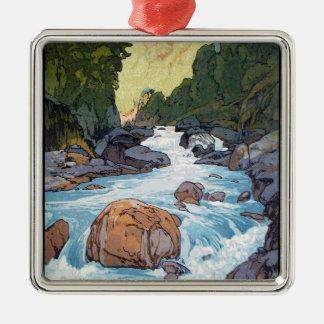 Cool oriental japanese Yoshida river scenery art Silver-Colored Square Decoration
