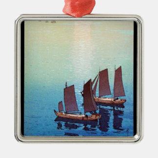 Cool oriental japanese Yoshida sea side sundown Silver-Colored Square Decoration