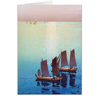Cool oriental japanese Yoshida sea side sundown Note Card