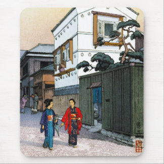 Cool oriental japanese Yoshida street scenery art Mouse Pads