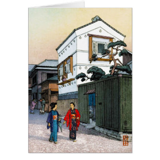 Cool oriental japanese Yoshida street scenery art Note Card