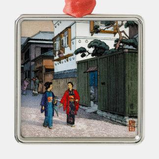 Cool oriental japanese Yoshida street scenery art Silver-Colored Square Decoration