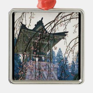 Cool oriental japanese Yoshida Temple Shrine art Silver-Colored Square Decoration