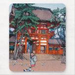 Cool oriental japanese Yoshida village scenery art Mouse Pad