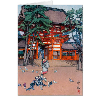 Cool oriental japanese Yoshida village scenery art Note Card