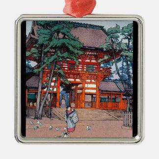 Cool oriental japanese Yoshida village scenery art Silver-Colored Square Decoration