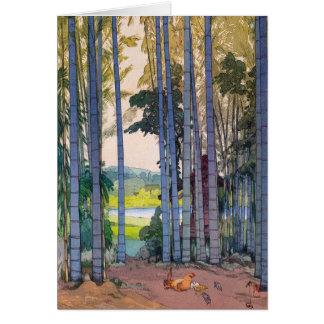 Cool oriental japanse Yoshida Bamboo Forest art Card