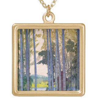 Cool oriental japanse Yoshida Bamboo Forest art Square Pendant Necklace