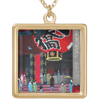 Cool oriental Kasamatsu Big Lantern Asakusu Temple Square Pendant Necklace