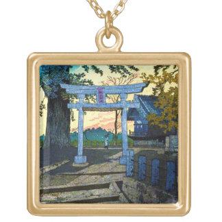 Cool oriental Kasamatsu Evening Glow Suwa Shrine Square Pendant Necklace