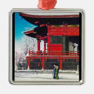 Cool oriental Kawase Hasui winter snow scenery art Silver-Colored Square Decoration