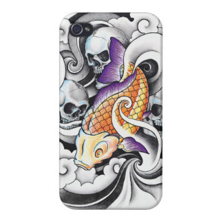 Cool Oriental Koi Carp Skull tattoo iPhone 4/4S Case