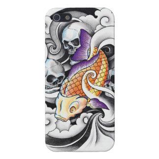 Cool Oriental Koi Carp Skull tattoo Cases For iPhone 5