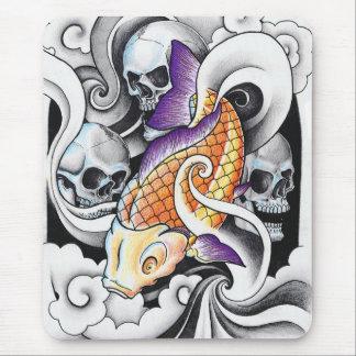 Cool Oriental Koi Carp Skull tattoo Mouse Mat