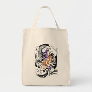 Cool Oriental Koi Carp Skull tattoo Tote Bag