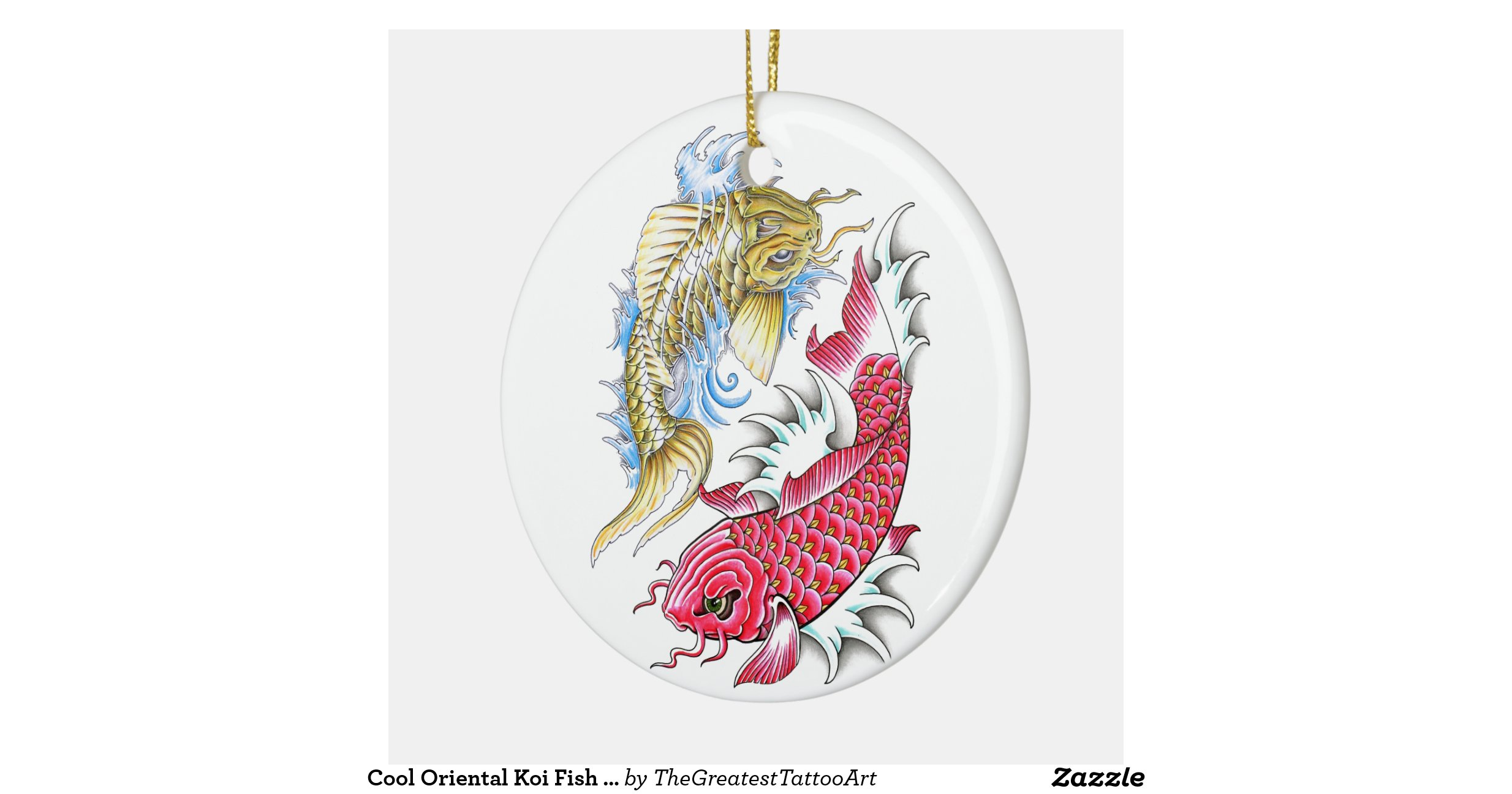 Cool oriental koi fish red gold yin yang tattoo double for Decoration murale yin yang