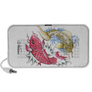 Cool Oriental Koi Fish Red Gold Yin Yang tattoo Portable Speaker