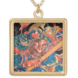 Cool oriental Kunioshi Suikoden warrior art Square Pendant Necklace